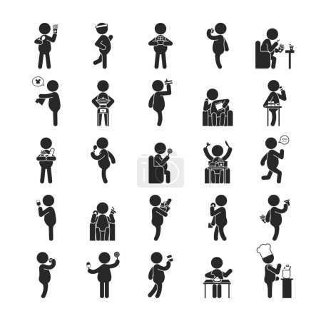 Illustration for Set of fat man activities , Human pictogram Icons , eps10 vector format - Royalty Free Image