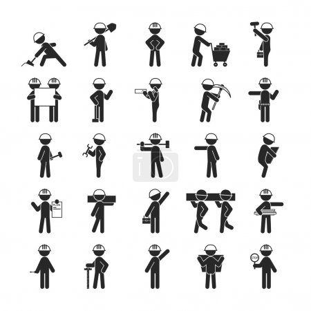 Illustration for Set of Industrial contractors workers people , Human pictogram Icons , eps10 vector format - Royalty Free Image