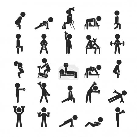 Set of dumbbell exercises character , Human pictogram Icons