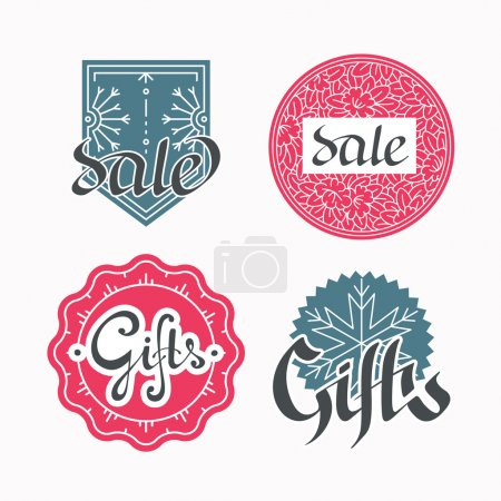 Set of sales and gifts labels