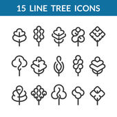 Set of graphical line trees and leaves mono line design collection of nature signs logos and symbols