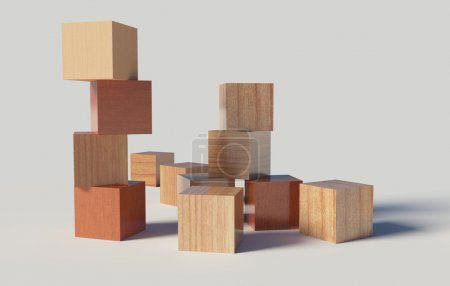 Photo for Wooden blocks on a withe background - Royalty Free Image