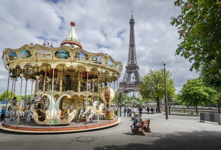 Carousel in Paris with the Eiffel Tower