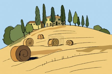 Farmhouse with cypresses and stacks of hay, Italy