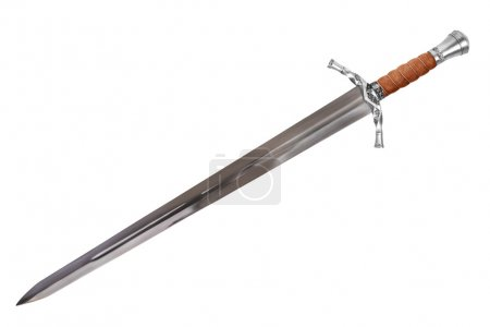Sword displayed by diagonal, isolated on white bac...