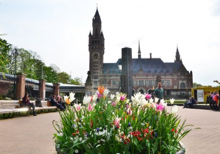 The Hague, Netherlands - May 8, 2015: Reporters at The Peace Palace in The Hague