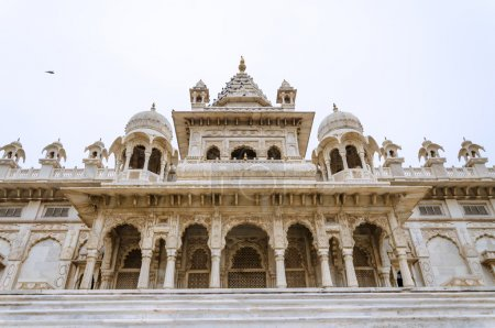 Jaswant Thada. Ornately carved white marble tomb o...