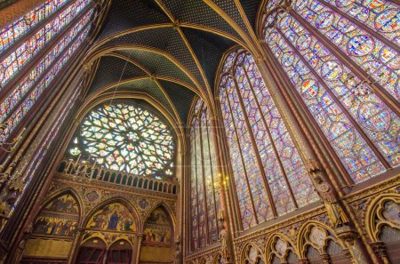 Famous stained glass windows and ceiling at  Sainte Chapelle in
