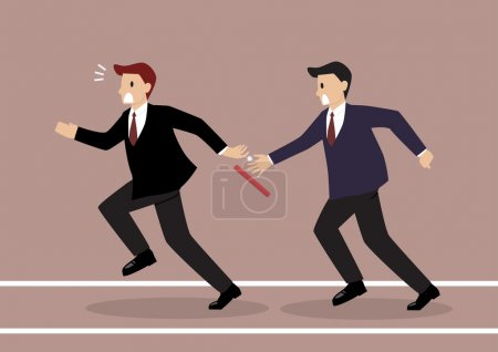 Businessman fail to passing the baton in a relay race competitio