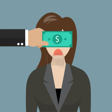 Business woman with dollar banknote taped to eyes