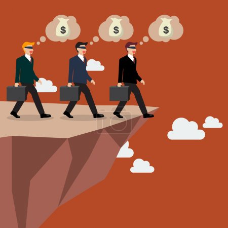 Illustration for Businessmans walk straight into the abyss. Vector Illustration - Royalty Free Image