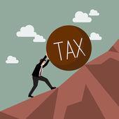 Businessman pushing heavy tax uphill