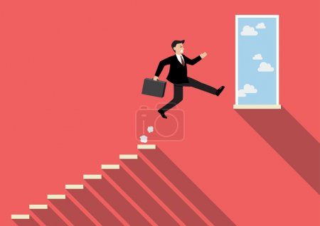 Illustration for Businessman jumping to success. Business Concept - Royalty Free Image