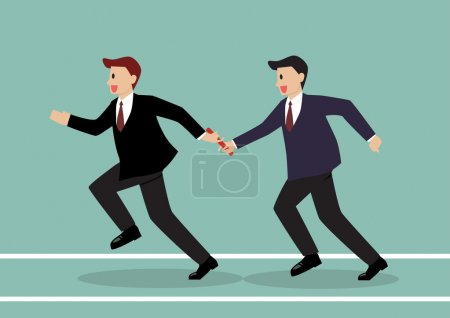 Businessman passing the baton in a relay race