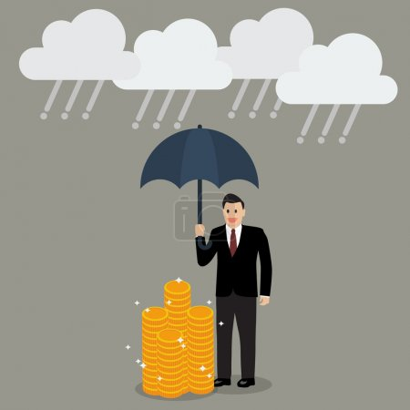 Businessman with umbrella protecting his money from financial cr