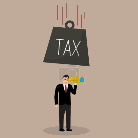 Photo pour Une lourde taxe qui tombe sur un homme d'affaires négligent. Concept de financement des entreprises - image libre de droit