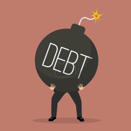 businessman bearing debt bomb