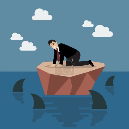 Illustration for Helpless businessman on a small island which surrounded by sharks. Business risk concept - Royalty Free Image