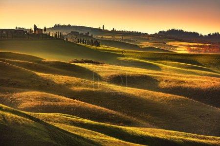 Tuscany spring, rolling hills on sunset. Rural landscape. Green