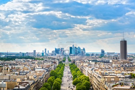 Photo for La Defense business area, La Grande Armee avenue. View from Arc de Triomphe. Paris, France, Europe. - Royalty Free Image