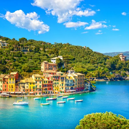 Portofino luxury village landmark, panoramic aerial view. Liguri