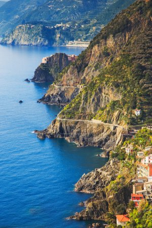 Photo for Via dell Amore aerial view, The Way of Love, linking Manarola and Riomaggiore. Cinque Terre National Park, Liguria Italy Europe. - Royalty Free Image