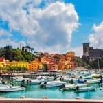 Lerici colorful village. Harbor, sea bay, boats, f...