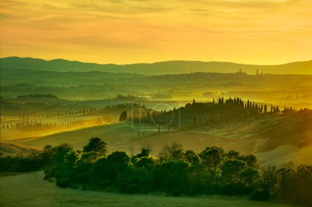 Siena, rolling hills on sunset.
