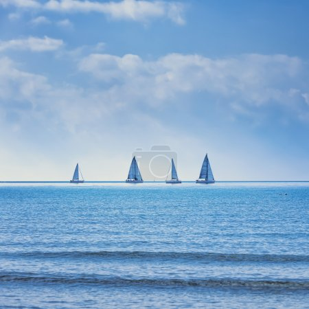 Sailing boat yacht regatta race on sea or ocean water