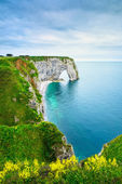 Etretat, Manneporte natural rock arch and yellow flowers. Norman
