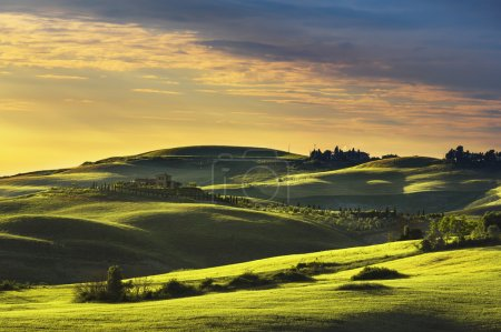 Tuscany spring, rolling hills on sunset.