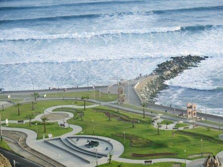 Shot of the Green Coast beach in Lima-Peru