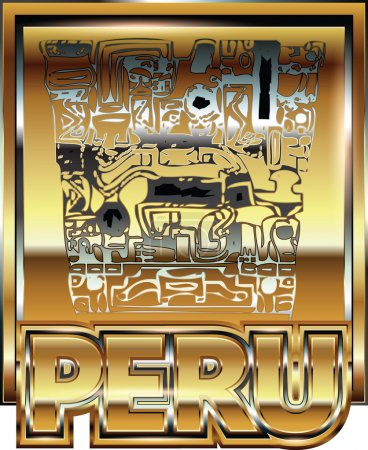 Illustration pour Ancienne illustration d'ornement en or péruvien - image libre de droit