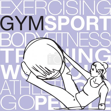 Pilates illustration of woman stability ball gym fitness yoga