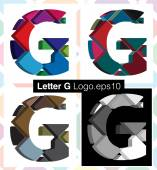 Colorful three-dimensional font letter G