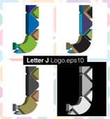 Colorful three-dimensional font letter J