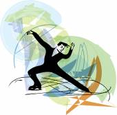 man ice skater skating at colorful sports arena