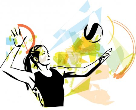 Illustration of volleyball player playing on abstr...