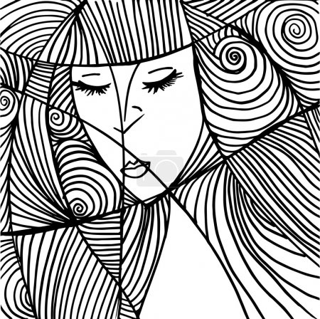 Illustration for Abstract beautiful woman face illustration - Royalty Free Image