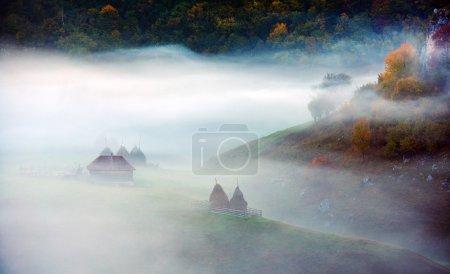 mountain landscape with autumn morning fog at sunrise - Fundatur