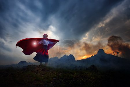 beautiful woman with red cloak