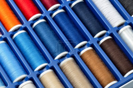 Photo for Colorful sewing threads isolated on white background - Royalty Free Image