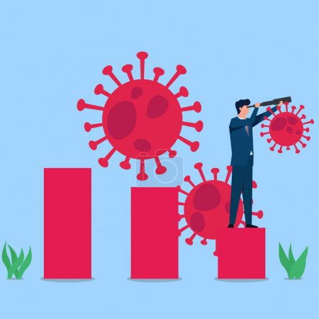 Man hold binocular on growing chart and viruses around metaphor economic recovery. Business flat vector concept illustration.
