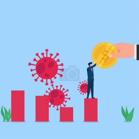 Man receive coin helper on growing chart and viruses around metaphor economic recovery. Business flat vector concept illustration.