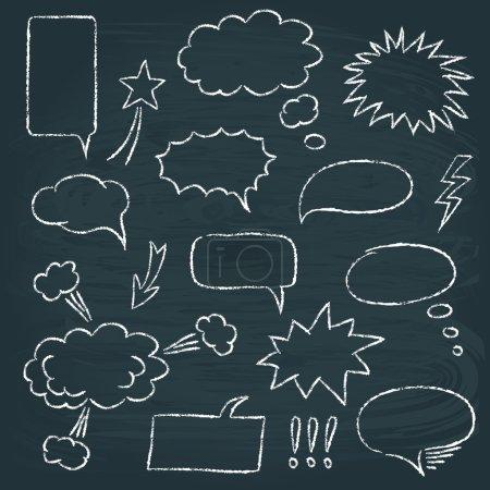 Illustration pour Ensemble de bulles de discours en tableau dans le style de bande dessinée - image libre de droit
