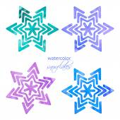 Set of watercolor snowflakes