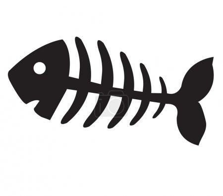Fish bone, illustration of black fish bone, fish s...