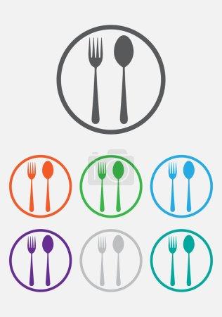 Illustration pour Icône fourchette et cuillère - enseigne restaurant. Boutons ronds avec cadre - image libre de droit