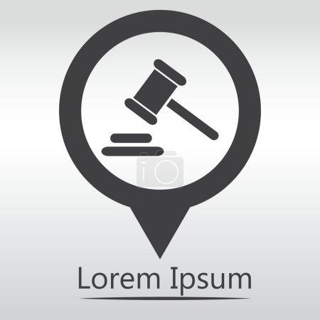 Illustration pour Icône de juge marteau. marteau juridique loi gavel. icône carte pin . - image libre de droit