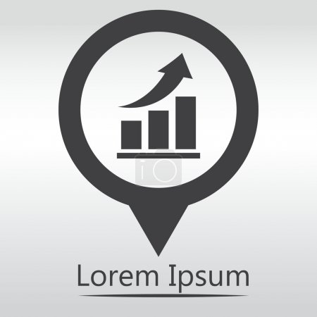 Illustration for Vector growing graph icon. Infographic chart vector.  icon map pin. - Royalty Free Image